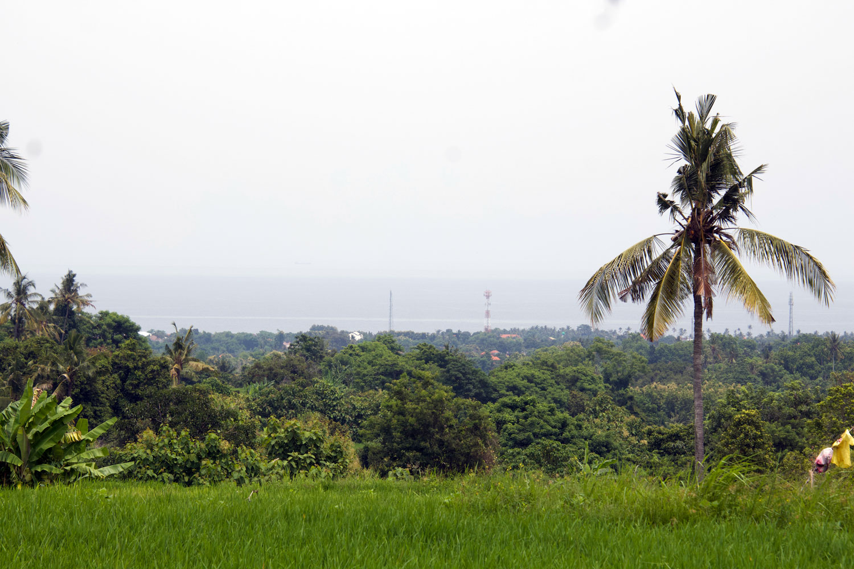 Bali ocean view land with asphalt access road